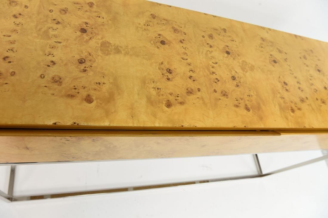 MILO BAUGHMAN STYLE BURL AND CHROME CONSOLE TABLE - 8