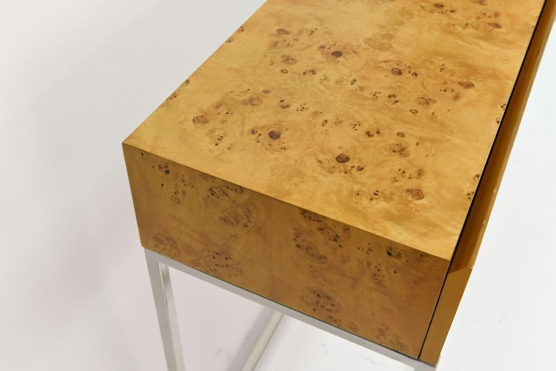 MILO BAUGHMAN STYLE BURL AND CHROME CONSOLE TABLE - 9