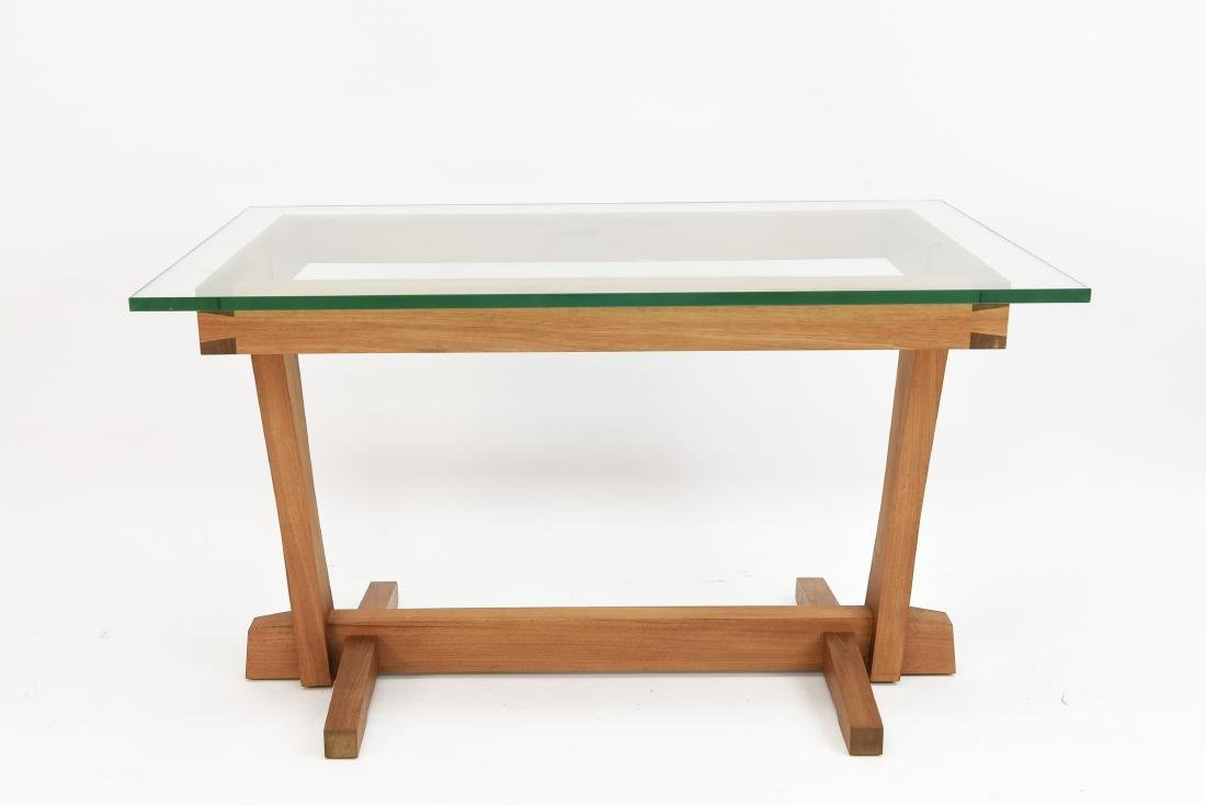 AMERICAN CRAFT WALNUT AND GLASS DESK