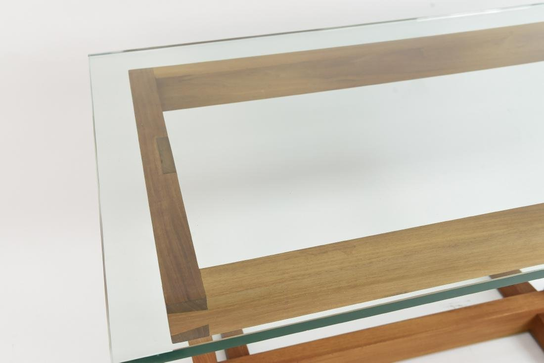 AMERICAN CRAFT WALNUT AND GLASS DESK - 2