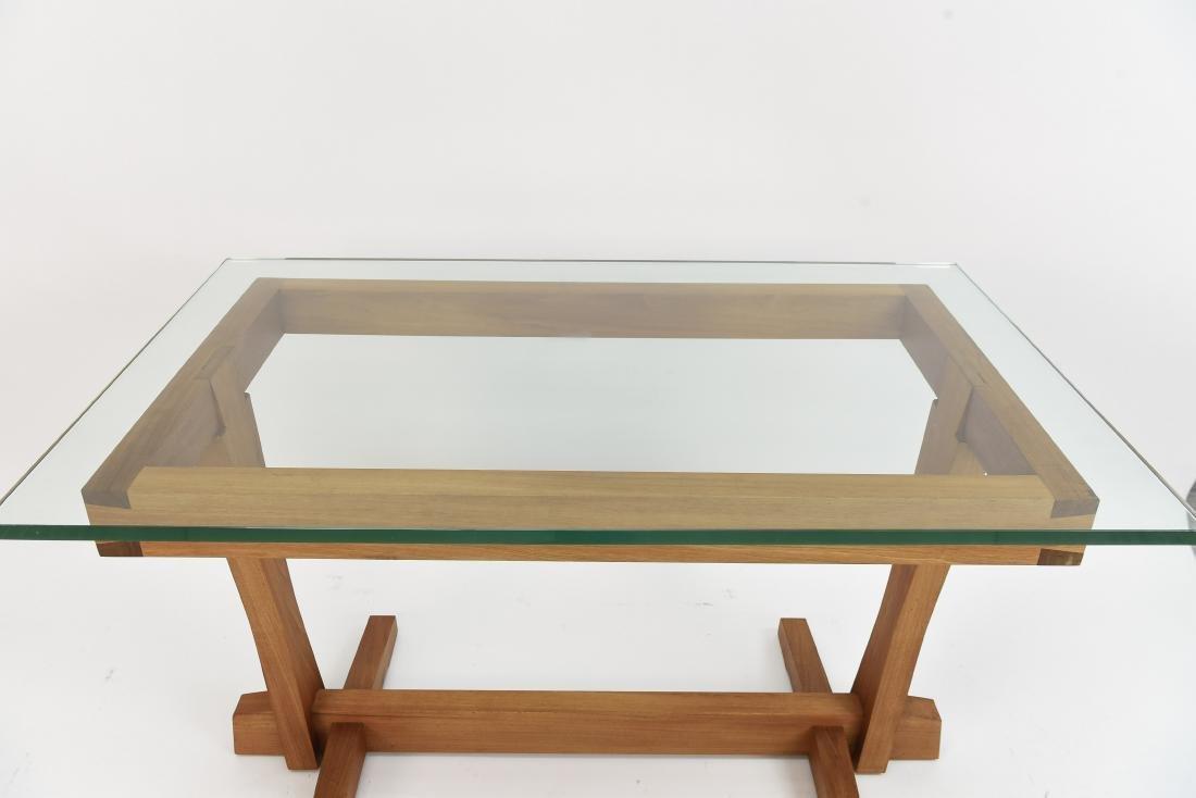 AMERICAN CRAFT WALNUT AND GLASS DESK - 8