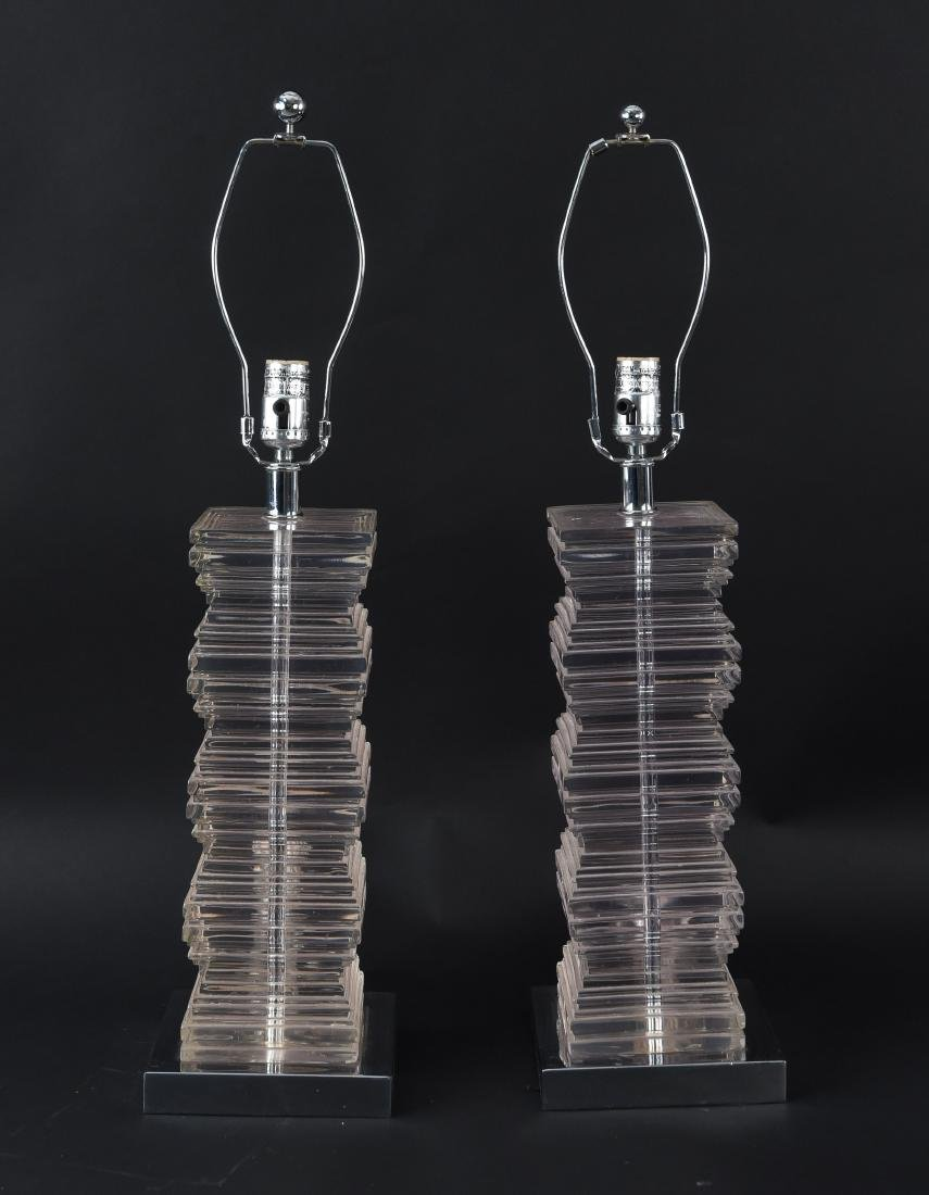 PAIR OF STACKED LUCITE LAMPS