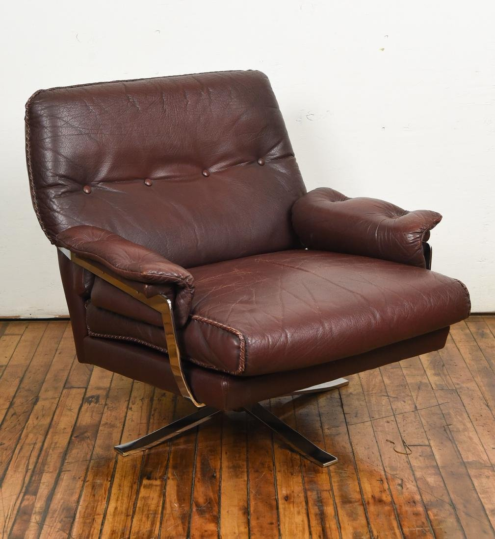 ARNE NORELL FOR VATNE MOBLER LEATHER LOUNGE CHAIR