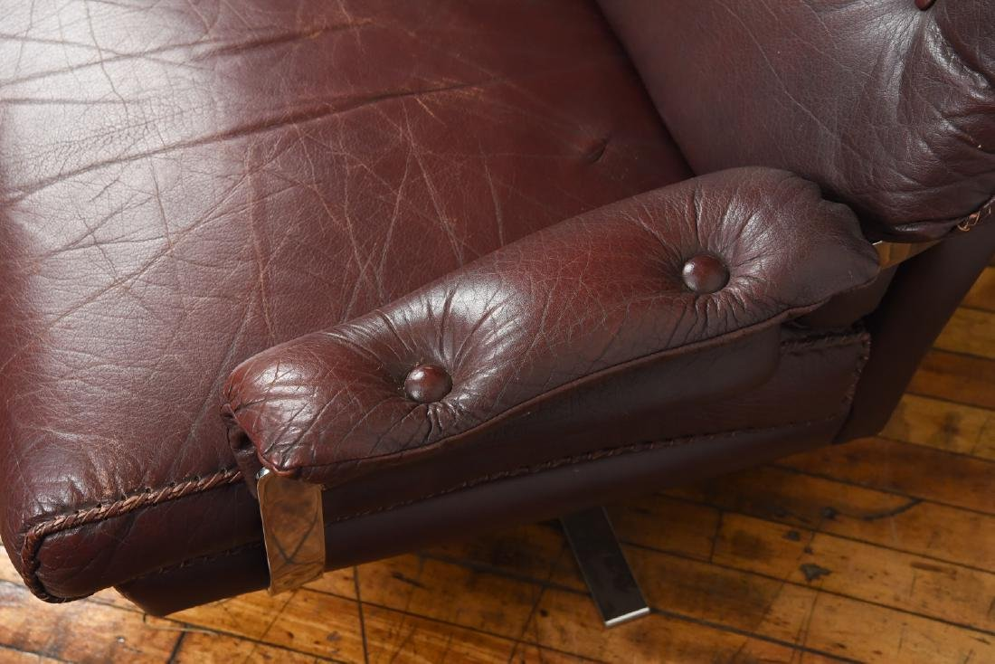 ARNE NORELL FOR VATNE MOBLER LEATHER LOUNGE CHAIR - 6