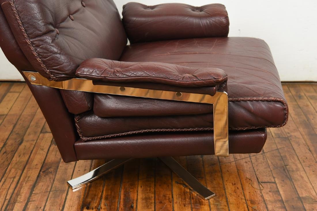 ARNE NORELL FOR VATNE MOBLER LEATHER LOUNGE CHAIR - 7