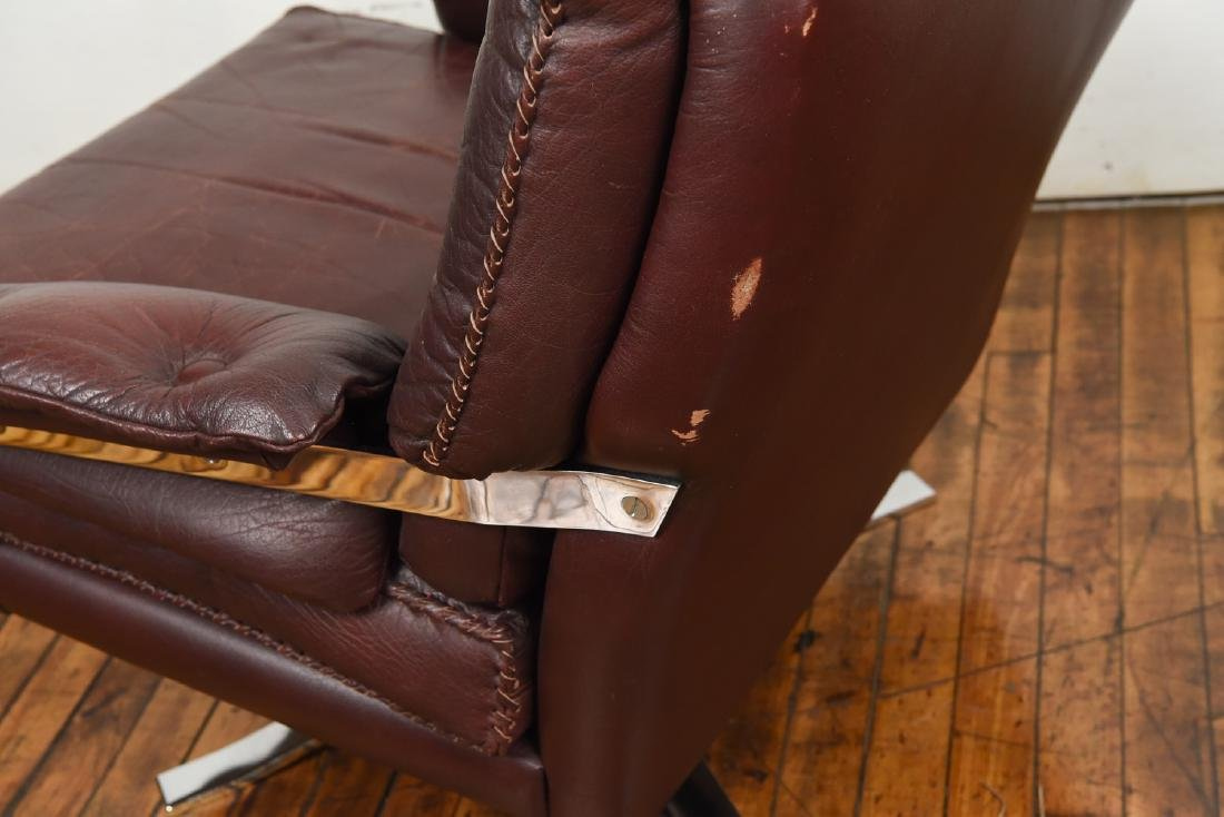 ARNE NORELL FOR VATNE MOBLER LEATHER LOUNGE CHAIR - 9