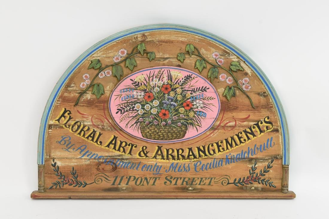VINTAGE PAINTED FLORAL STORE SIGN