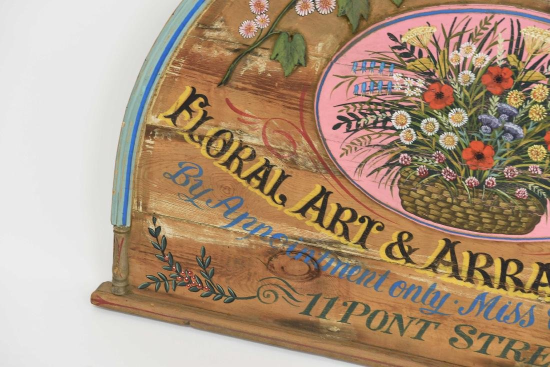 VINTAGE PAINTED FLORAL STORE SIGN - 5