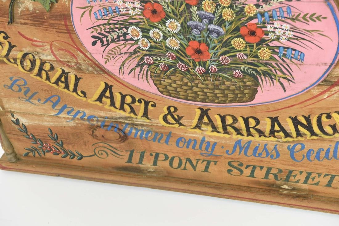 VINTAGE PAINTED FLORAL STORE SIGN - 7