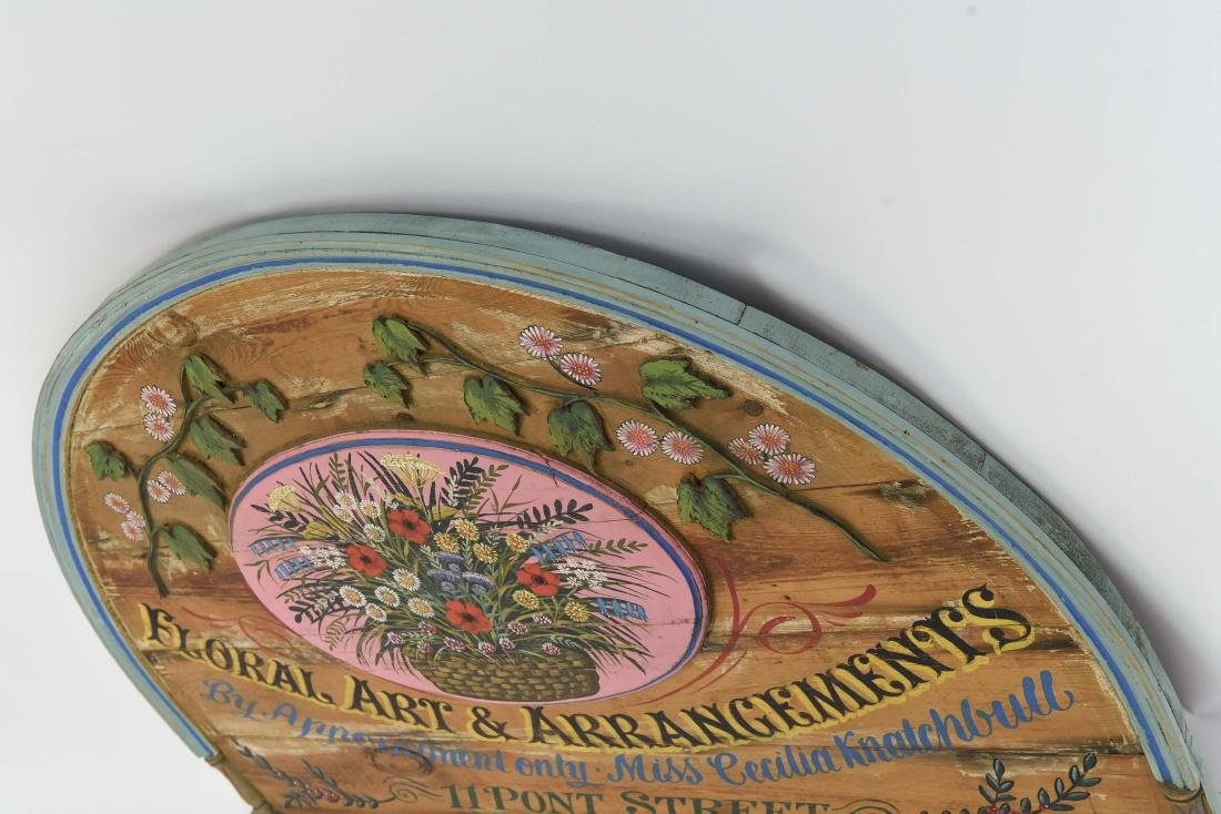 VINTAGE PAINTED FLORAL STORE SIGN - 8