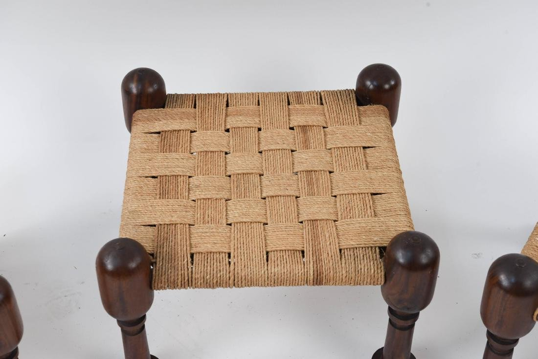 (3) MID-CENTURY ROSEWOOD OTTOMANS WITH WOVEN SEATS - 3