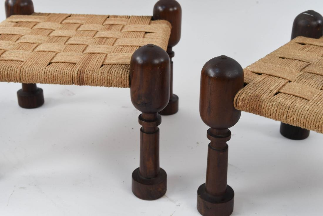 (3) MID-CENTURY ROSEWOOD OTTOMANS WITH WOVEN SEATS - 5