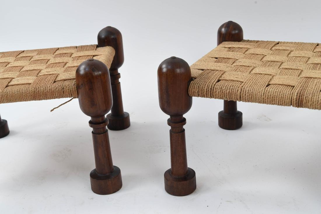 (3) MID-CENTURY ROSEWOOD OTTOMANS WITH WOVEN SEATS - 6