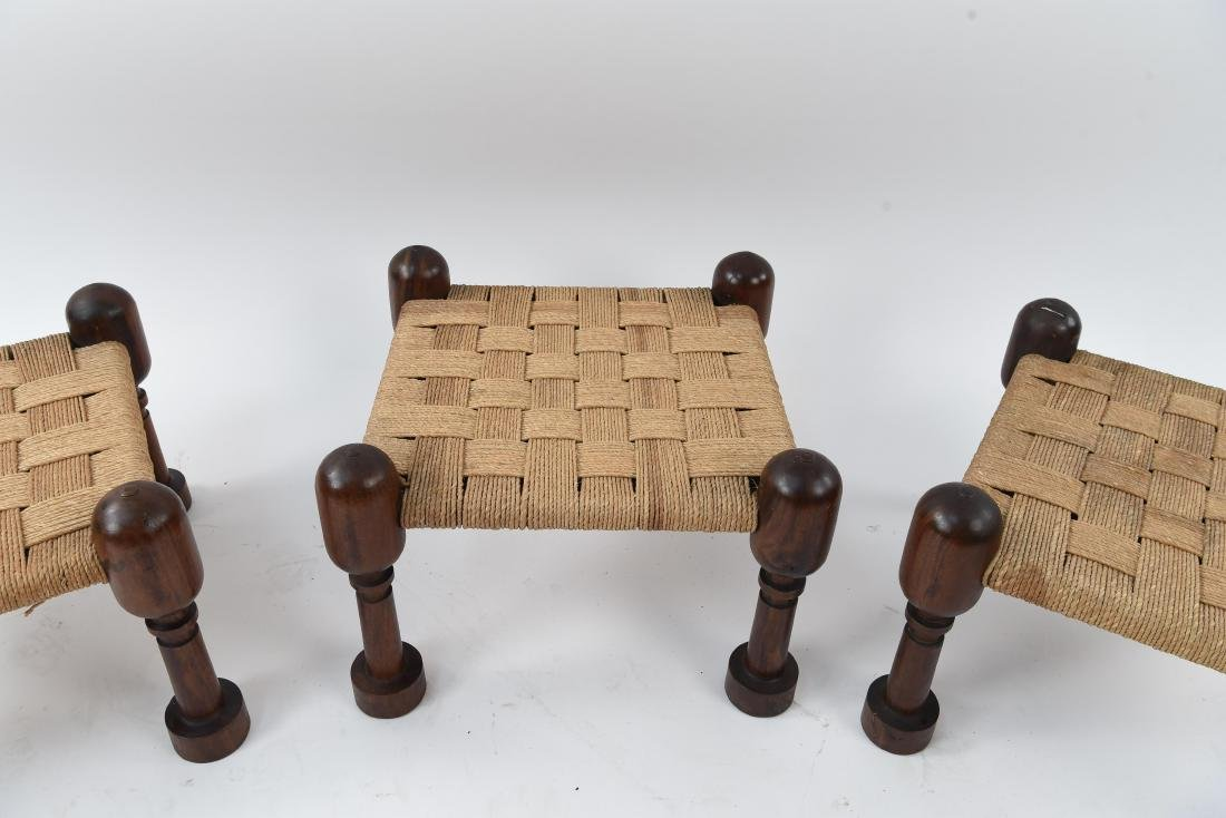 (3) MID-CENTURY ROSEWOOD OTTOMANS WITH WOVEN SEATS - 8