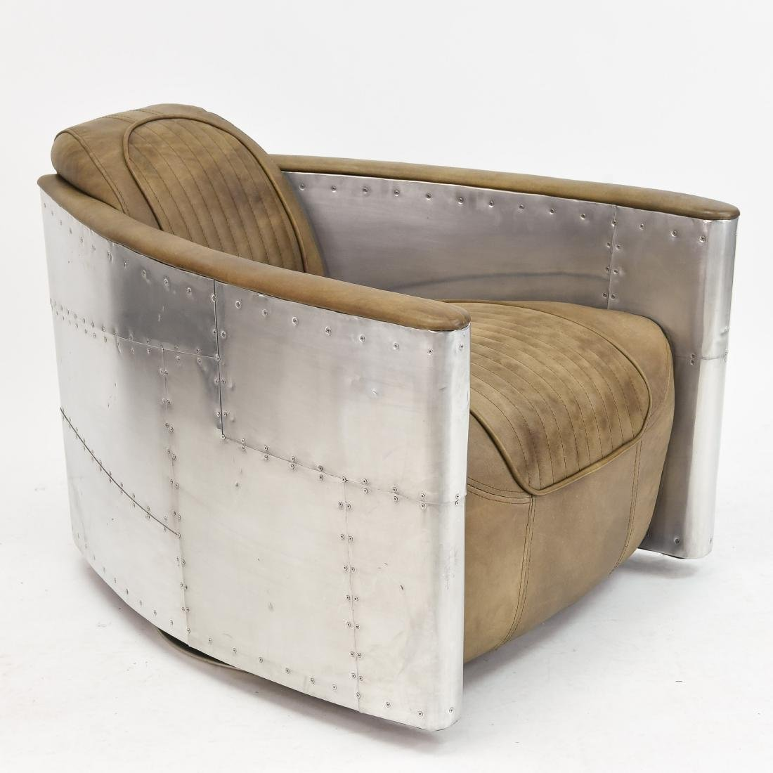 ALUMINUM AND LEATHER AIRCRAFT LOUNGE CHAIR