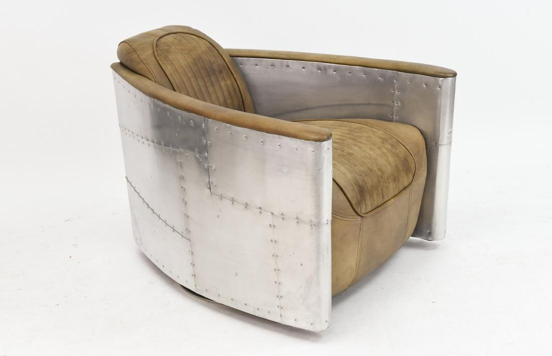ALUMINUM AND LEATHER AIRCRAFT LOUNGE CHAIR - 2
