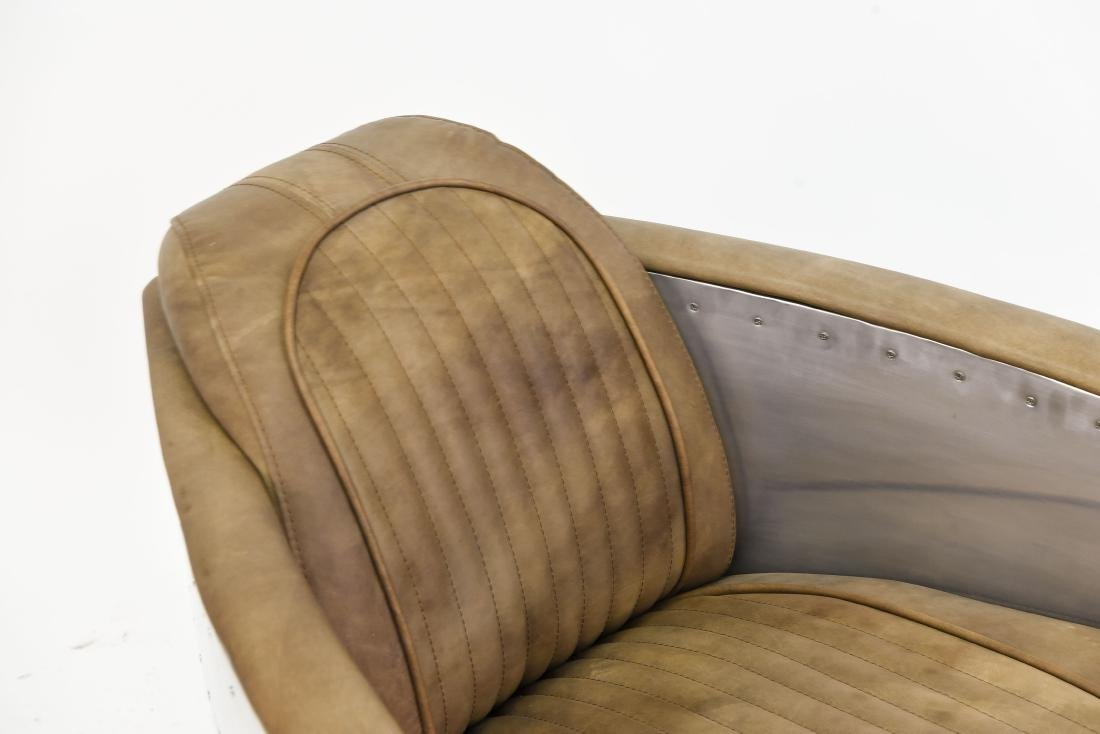 ALUMINUM AND LEATHER AIRCRAFT LOUNGE CHAIR - 3