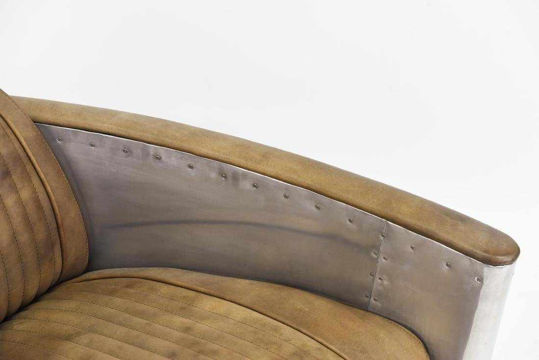 ALUMINUM AND LEATHER AIRCRAFT LOUNGE CHAIR - 4