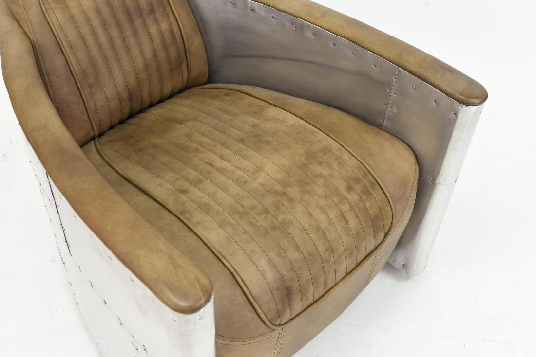 ALUMINUM AND LEATHER AIRCRAFT LOUNGE CHAIR - 5