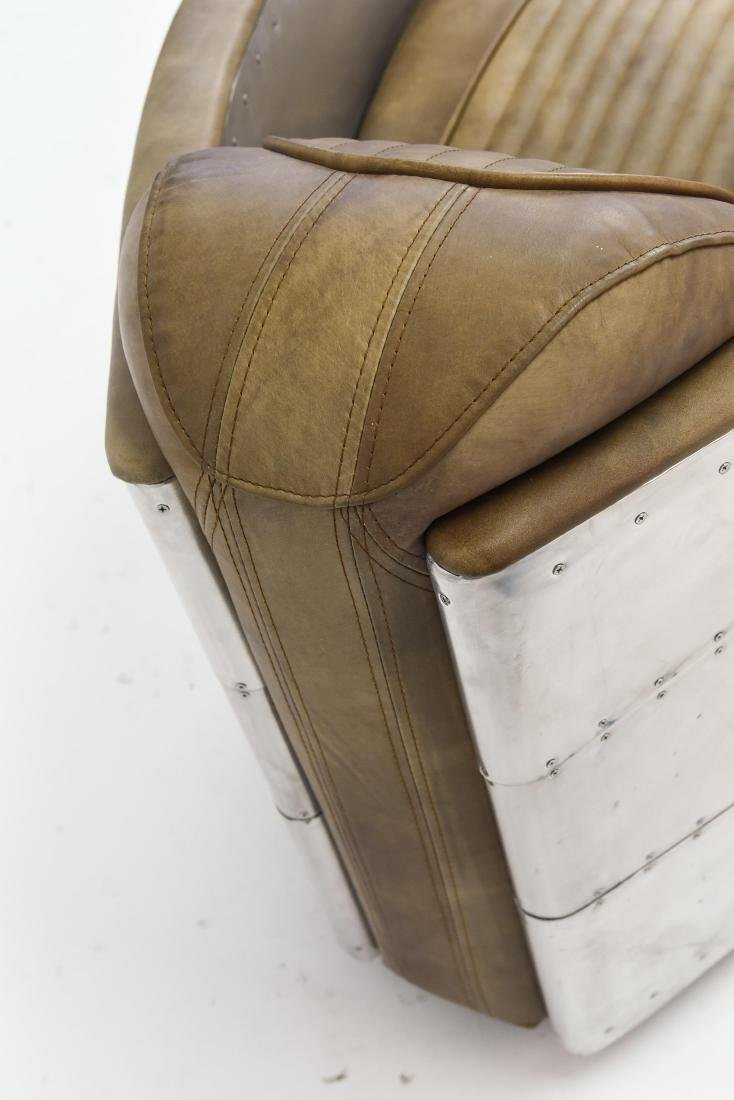 ALUMINUM AND LEATHER AIRCRAFT LOUNGE CHAIR - 7