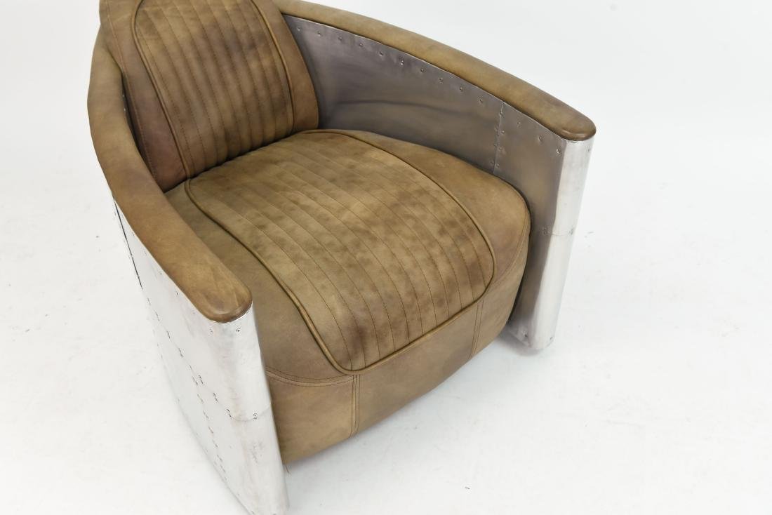 ALUMINUM AND LEATHER AIRCRAFT LOUNGE CHAIR - 8