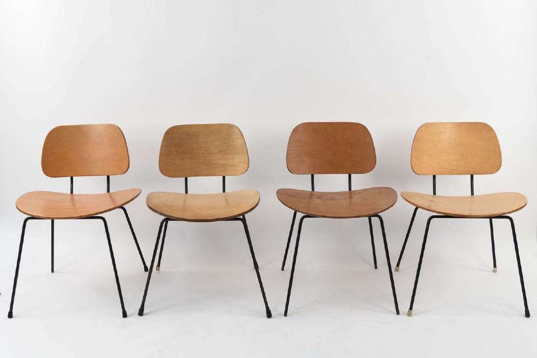 (4) BENTWOOD & IRON MID-CENTURY CHAIRS