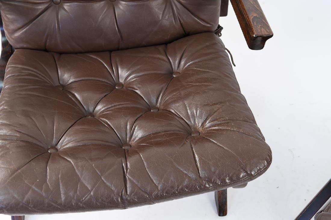 PAIR OF MID-CENTURY LEATHER DANISH EASY CHAIRS - 2