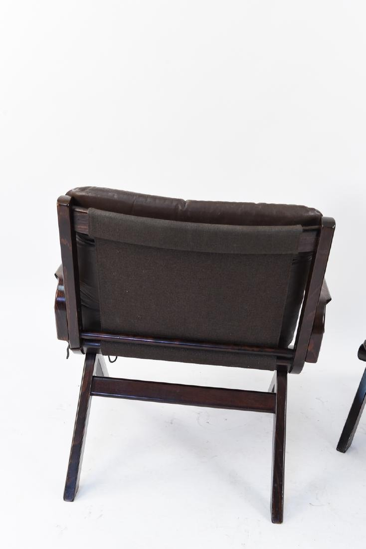 PAIR OF MID-CENTURY LEATHER DANISH EASY CHAIRS - 8