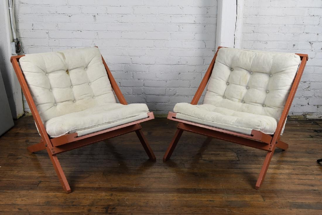 PAIR OF DANISH MID CENTURY CANVAS EASY CHAIRS