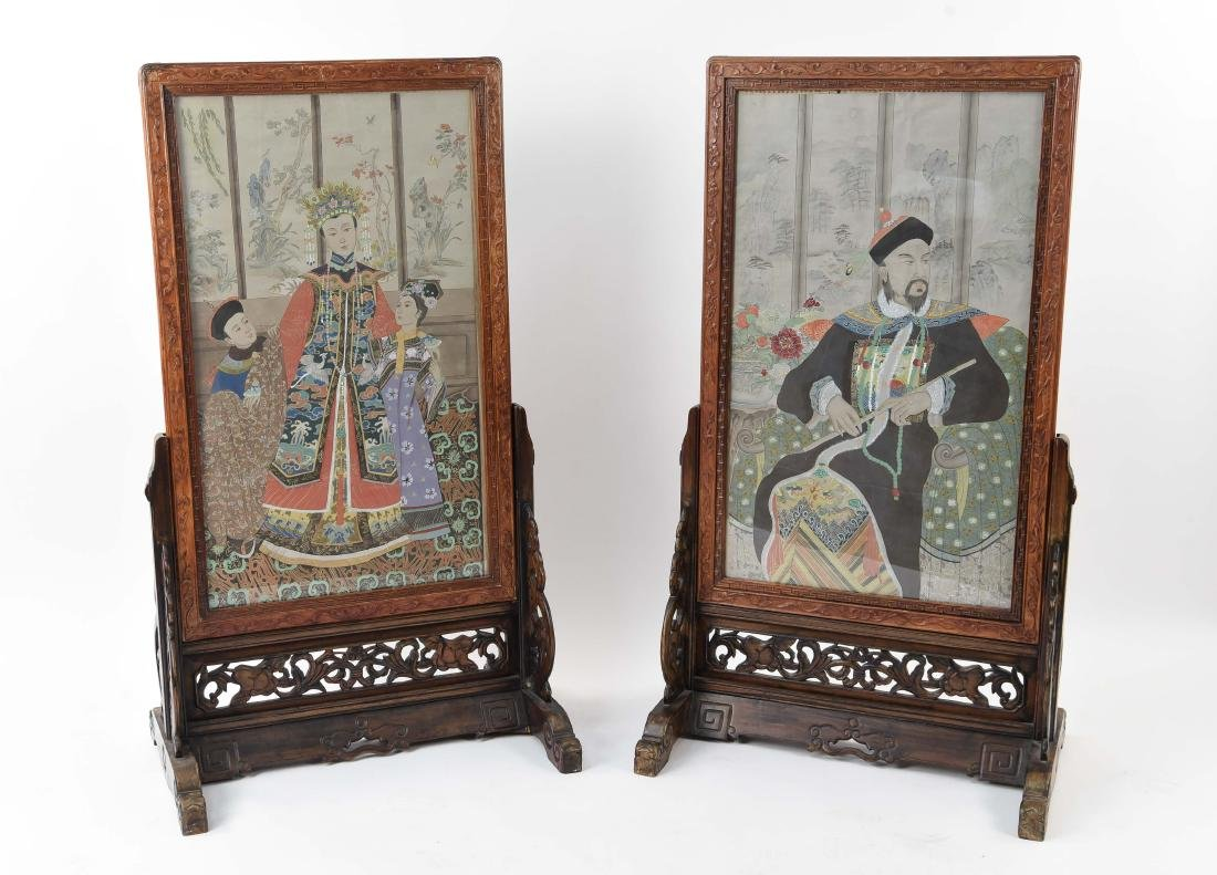 PAIR OF CHINESE ANCESTOR PAINTINGS ON STANDS
