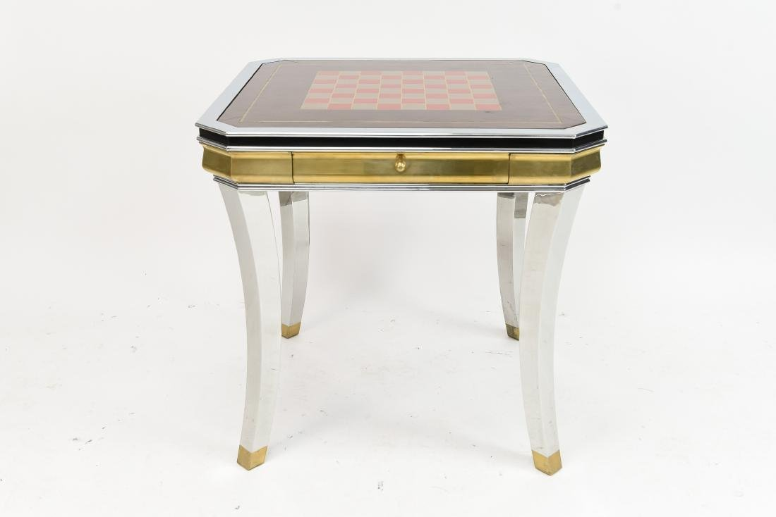 BRASS & CHROME CHESS GAMING TABLE