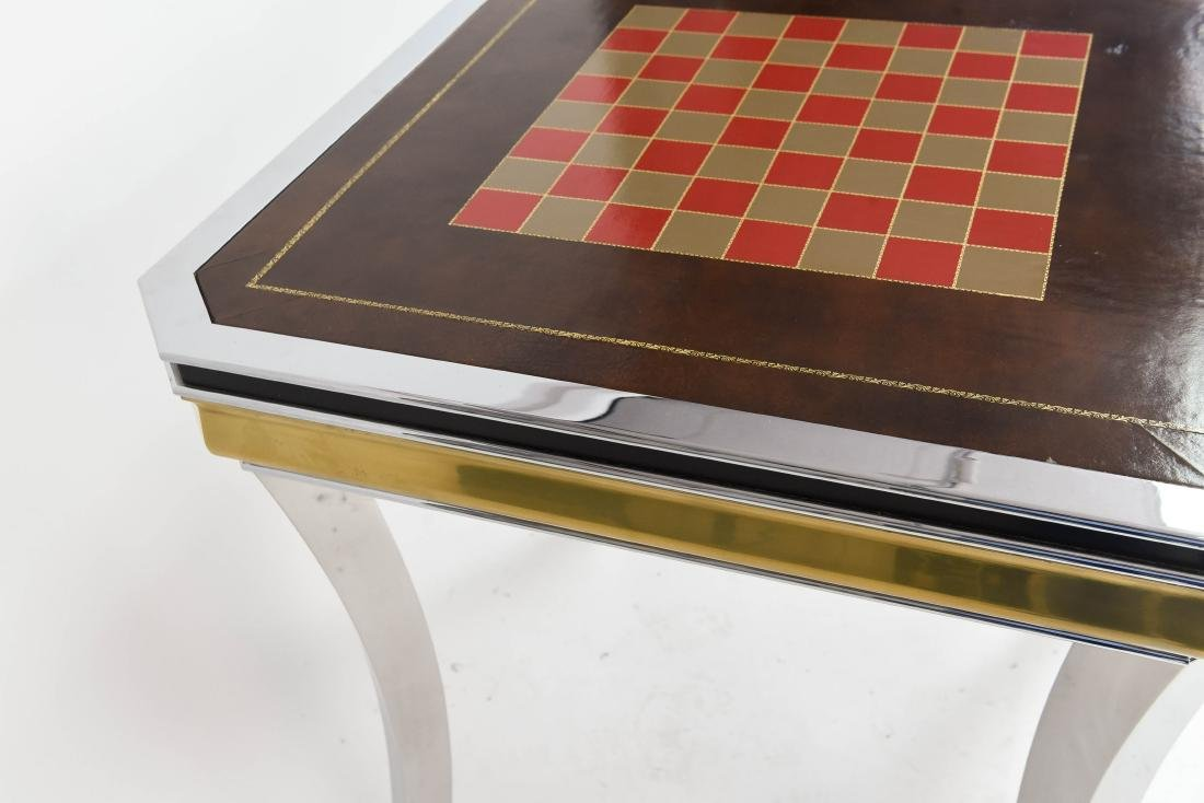 BRASS & CHROME CHESS GAMING TABLE - 5