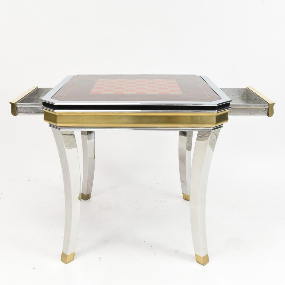BRASS & CHROME CHESS GAMING TABLE - 7