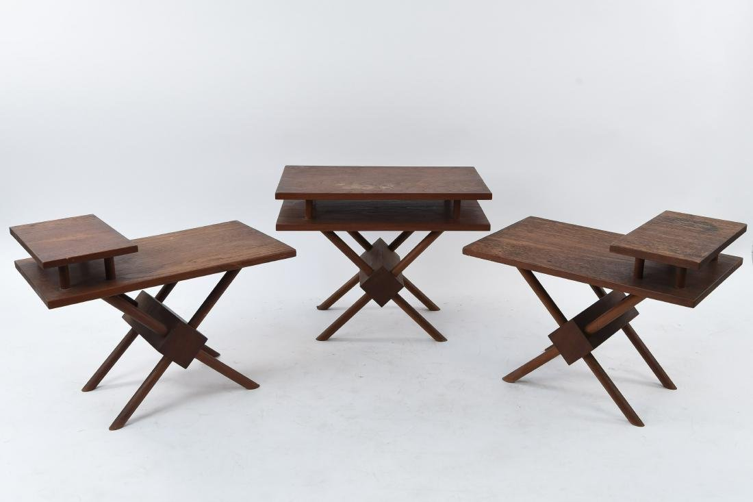 (3) MID-CENTURY WIDDICOMB STYLE WOODEN SIDE TABLES