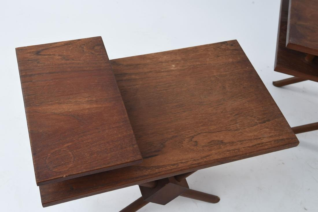 (3) MID-CENTURY WIDDICOMB STYLE WOODEN SIDE TABLES - 2