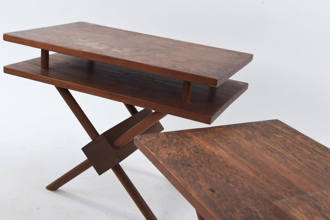 (3) MID-CENTURY WIDDICOMB STYLE WOODEN SIDE TABLES - 7