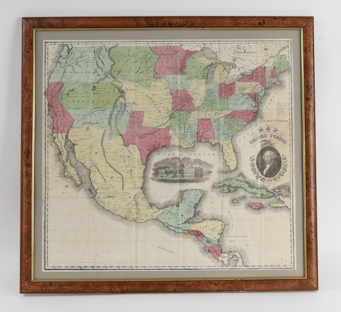 RARE 1852 CASE TIFFANY & CO. MAP OF U.S.
