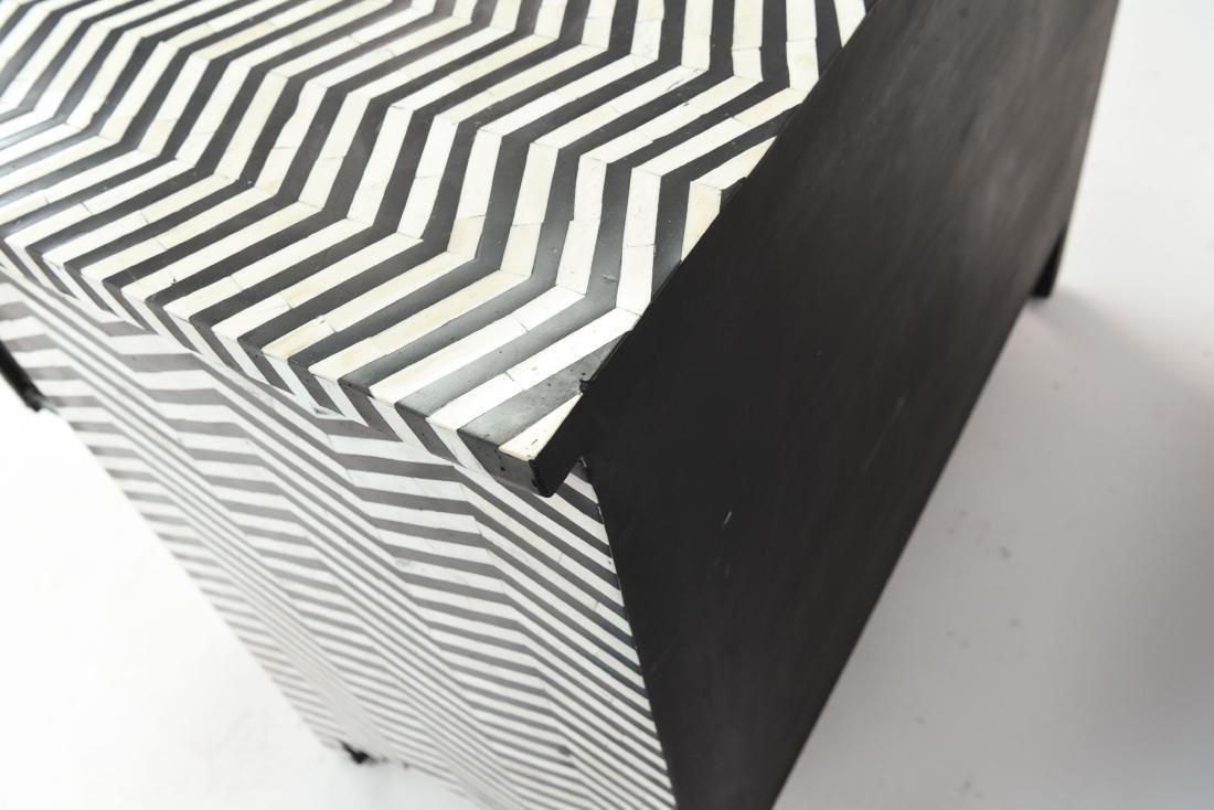 BONE INLAID CHEVRON BLACK AND WHITE CHEST - 8