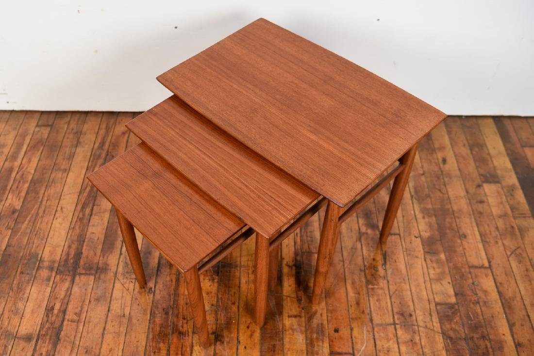 SET OF (3) DANISH TEAK NESTING TABLES - 2