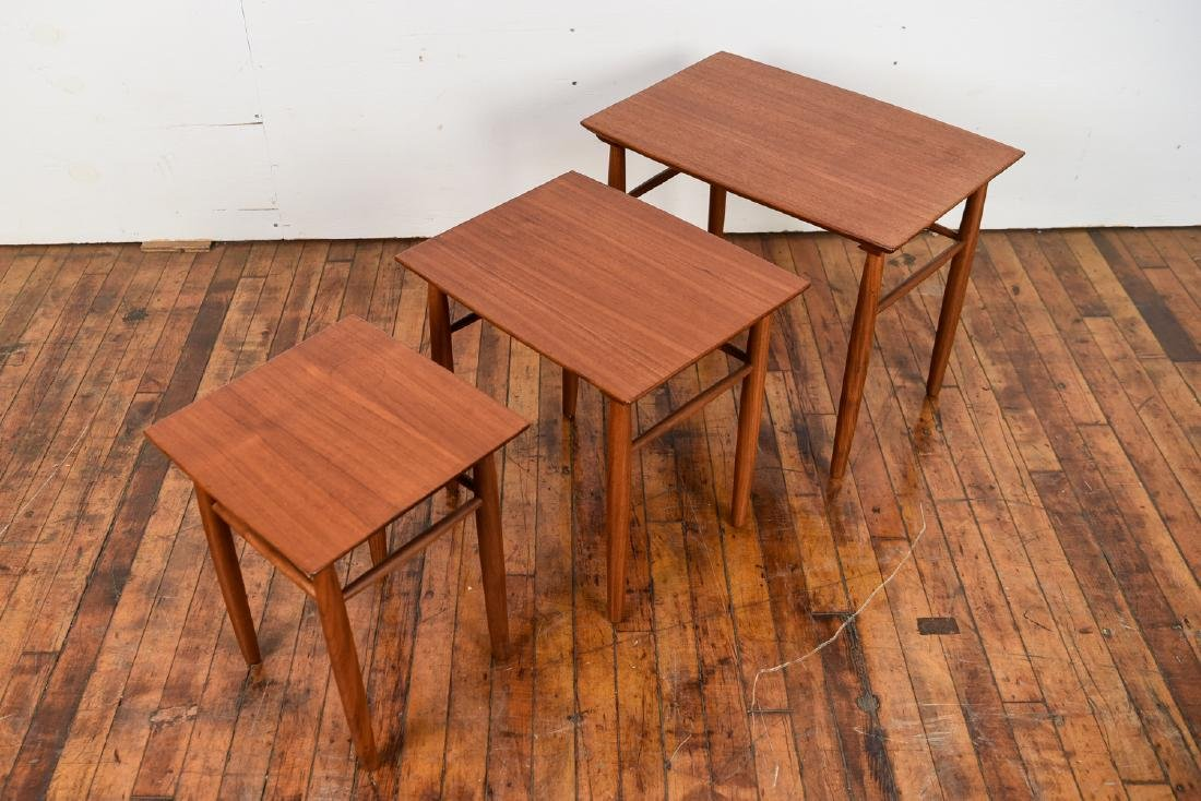 SET OF (3) DANISH TEAK NESTING TABLES - 3