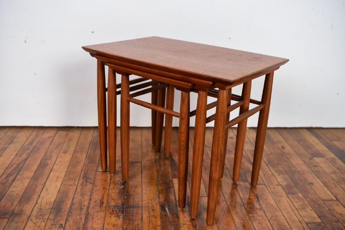 SET OF (3) DANISH TEAK NESTING TABLES - 5