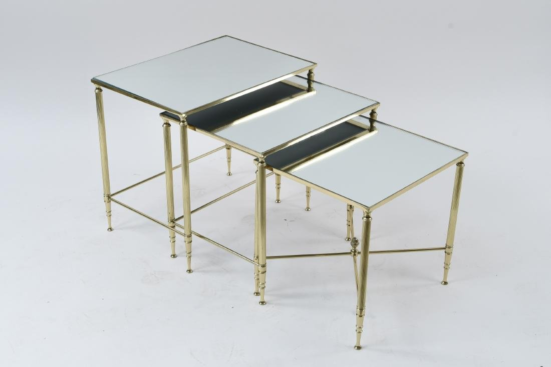 SET OF (3) MIRRORED TOP BRASS NESTING TABLES