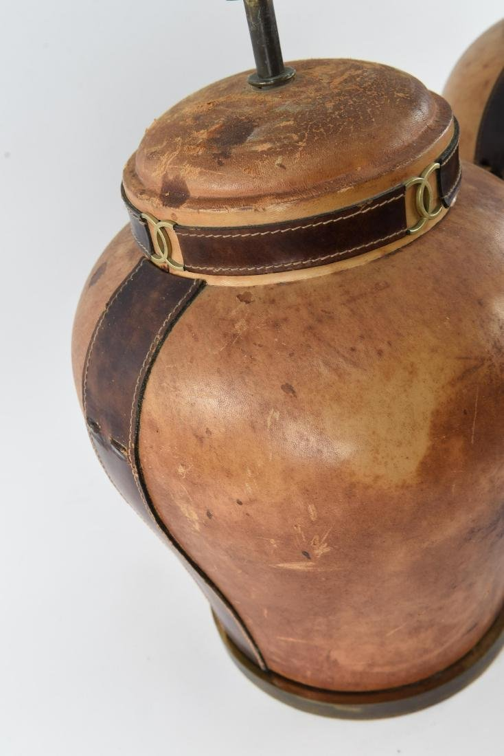 PAIR OF LEATHER CLAD LAMPS - 9