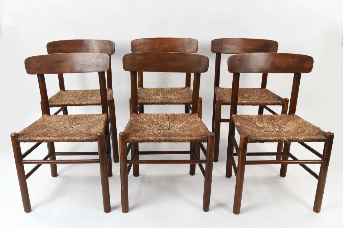 """(6) BORGE MOGENSEN """"SHAKER"""" CHAIRS W/ RUSH SEATS"""