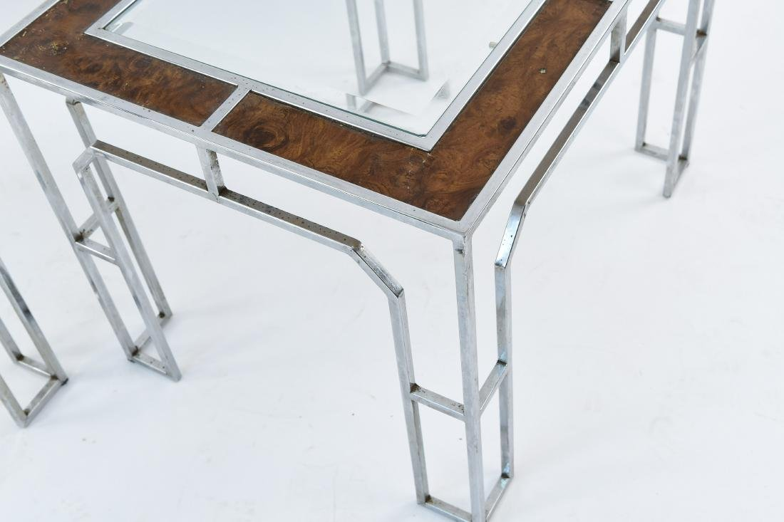 MANNER OF MILO BAUGHMAN CHROME & BURL SIDE TABLES - 10