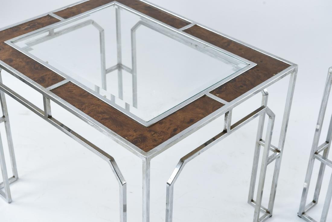 MANNER OF MILO BAUGHMAN CHROME & BURL SIDE TABLES - 2