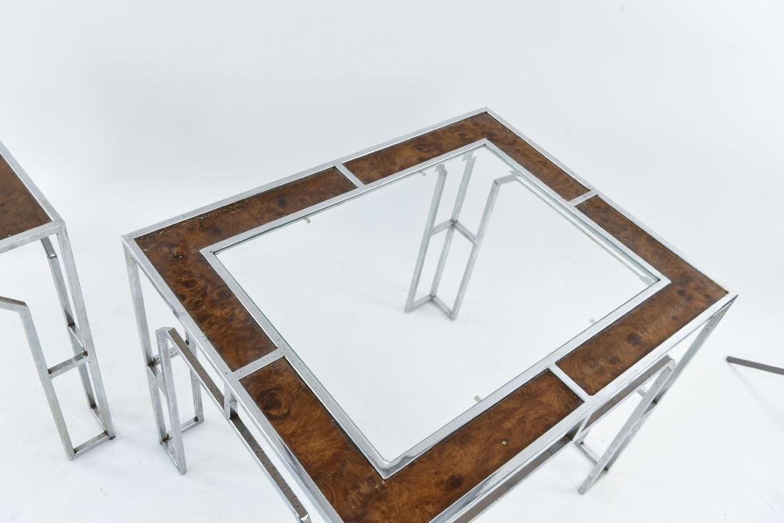 MANNER OF MILO BAUGHMAN CHROME & BURL SIDE TABLES - 4
