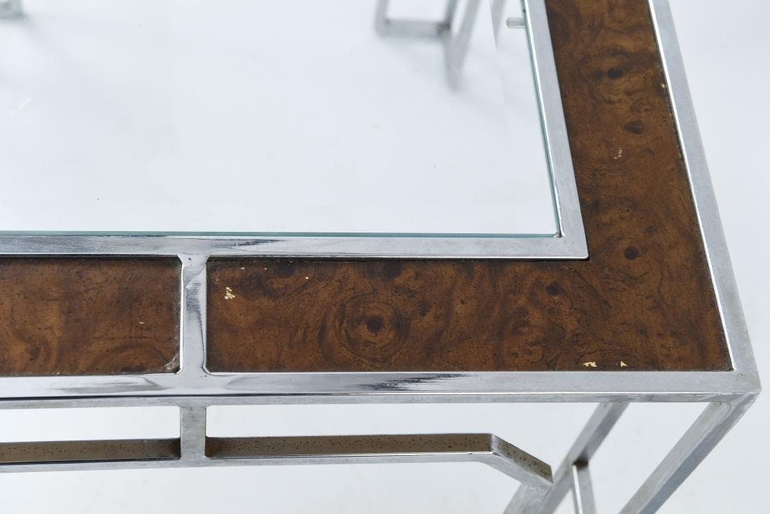 MANNER OF MILO BAUGHMAN CHROME & BURL SIDE TABLES - 5