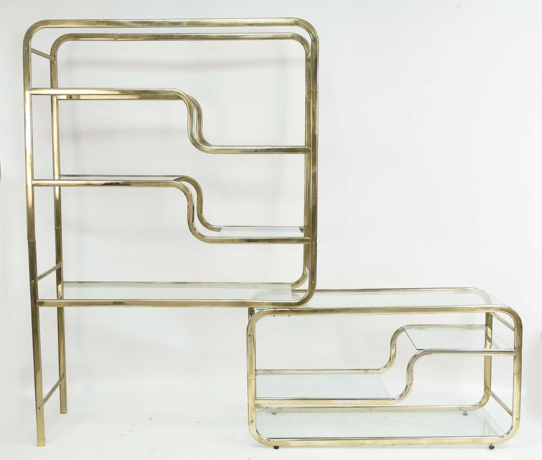 MILO BAUGHMAN STYLE BRASS FINISHED ETAGERE