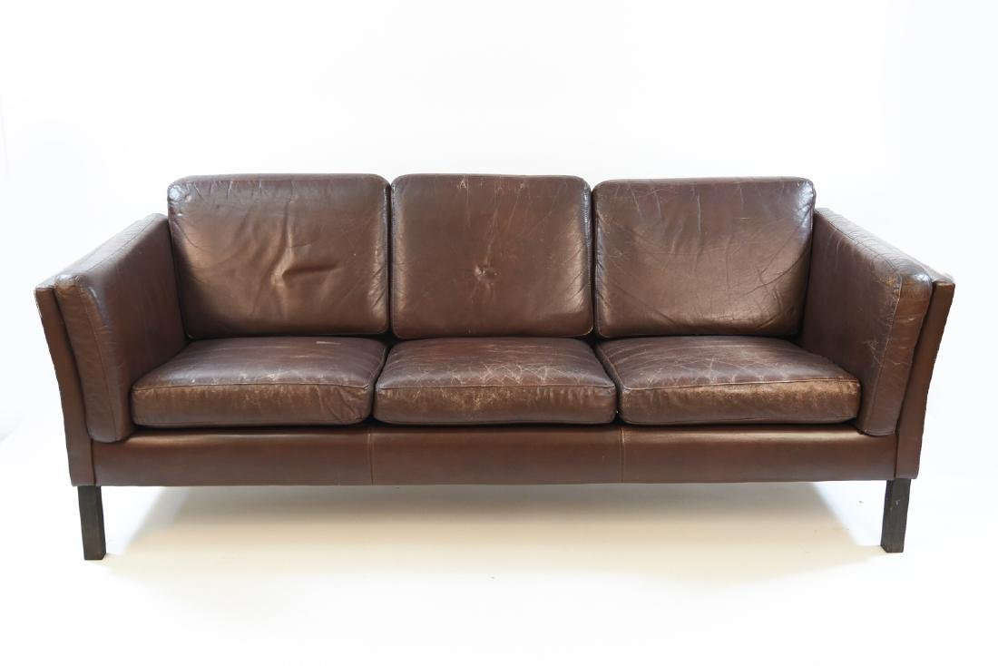 DANISH MID CENTURY 3-SEAT LEATHER SOFA